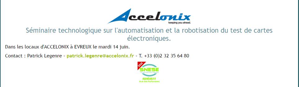 Accelonix – Séminaire technologique – 14 juin 2016