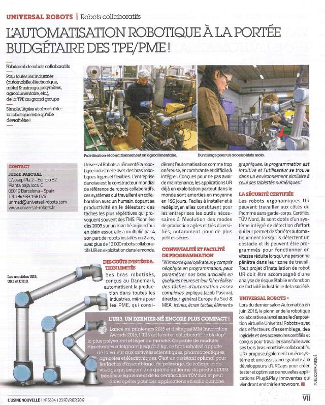 ARTICLE USINE NOUVELLE UNIVERSAL ROBOTS COBOT HMI MBS