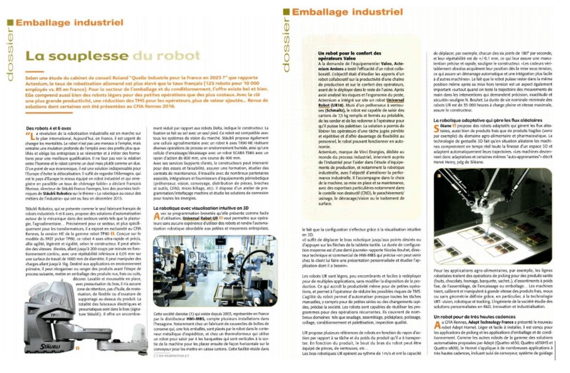 EMBALLAGE INDUSTRIEL LA SOUPLESSE DU ROBOT UNIVERSAL ROBOTS HMI