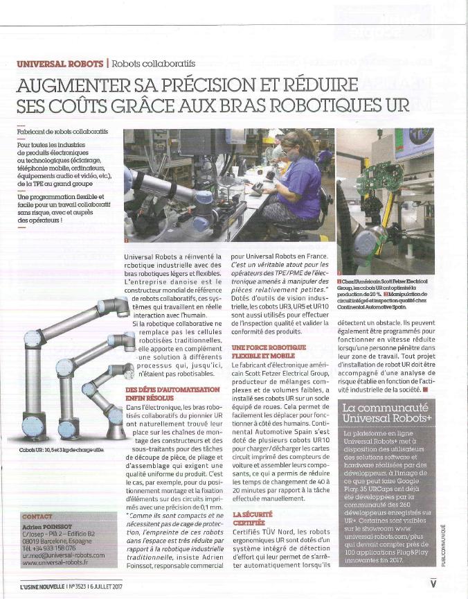 ARTICLE L'USINE NOUVELLE JUILLET 2017 UNIVERSAL ROBOTS HMi MBS