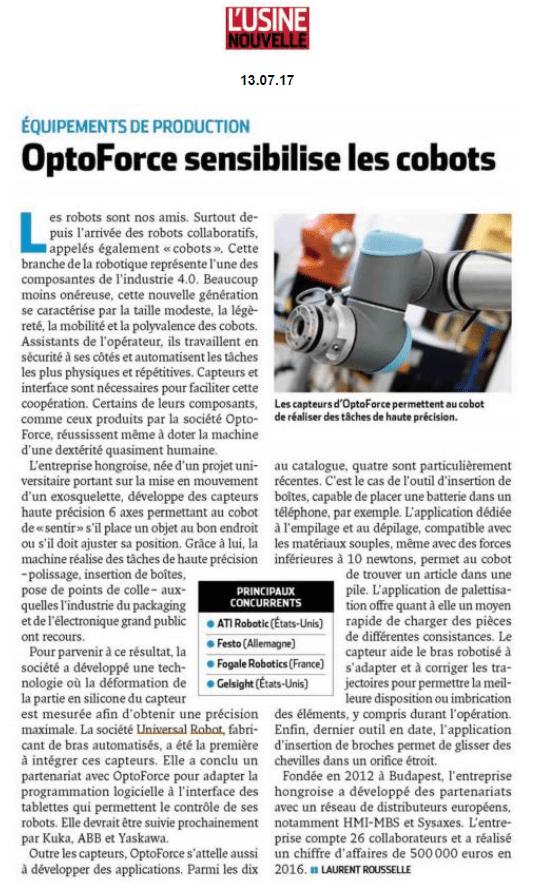 ARTICLE OPTOFORCE L'USINE NOUVELLE COBOTS UR UNIVERSAL ROBOTS HMi-MBS