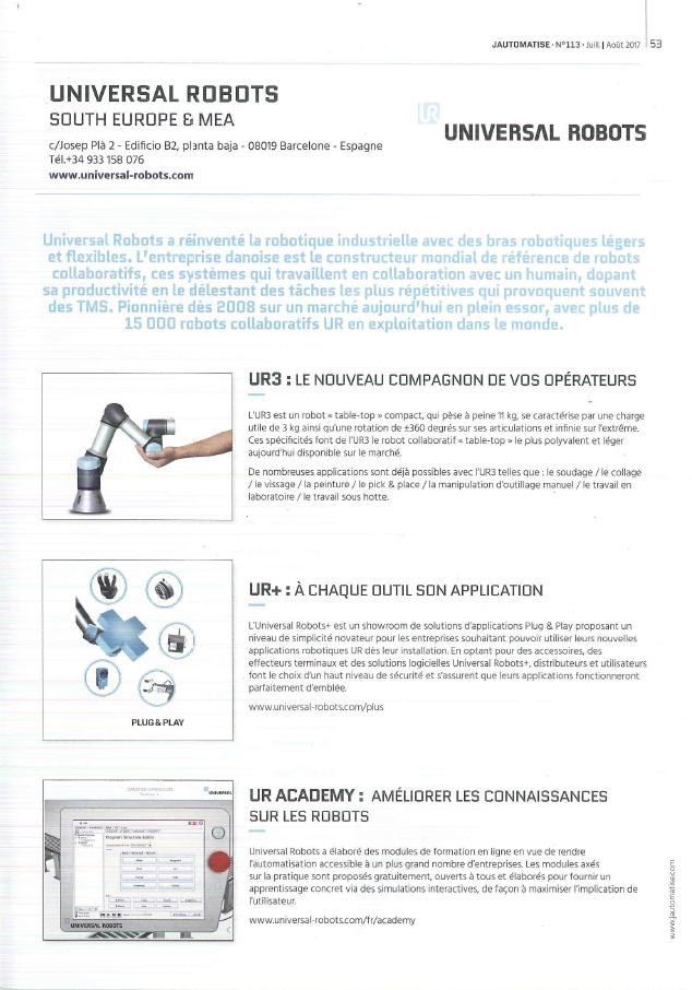 JAUTOMATISE N° 113 UNIVERSAL ROBOTS UR HMi MBS