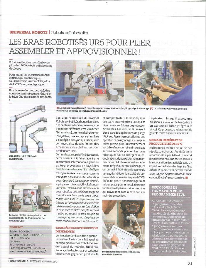 article usine nouvelle nichrominox universal robots hmi mbs bras robotisés assembler approvisionner