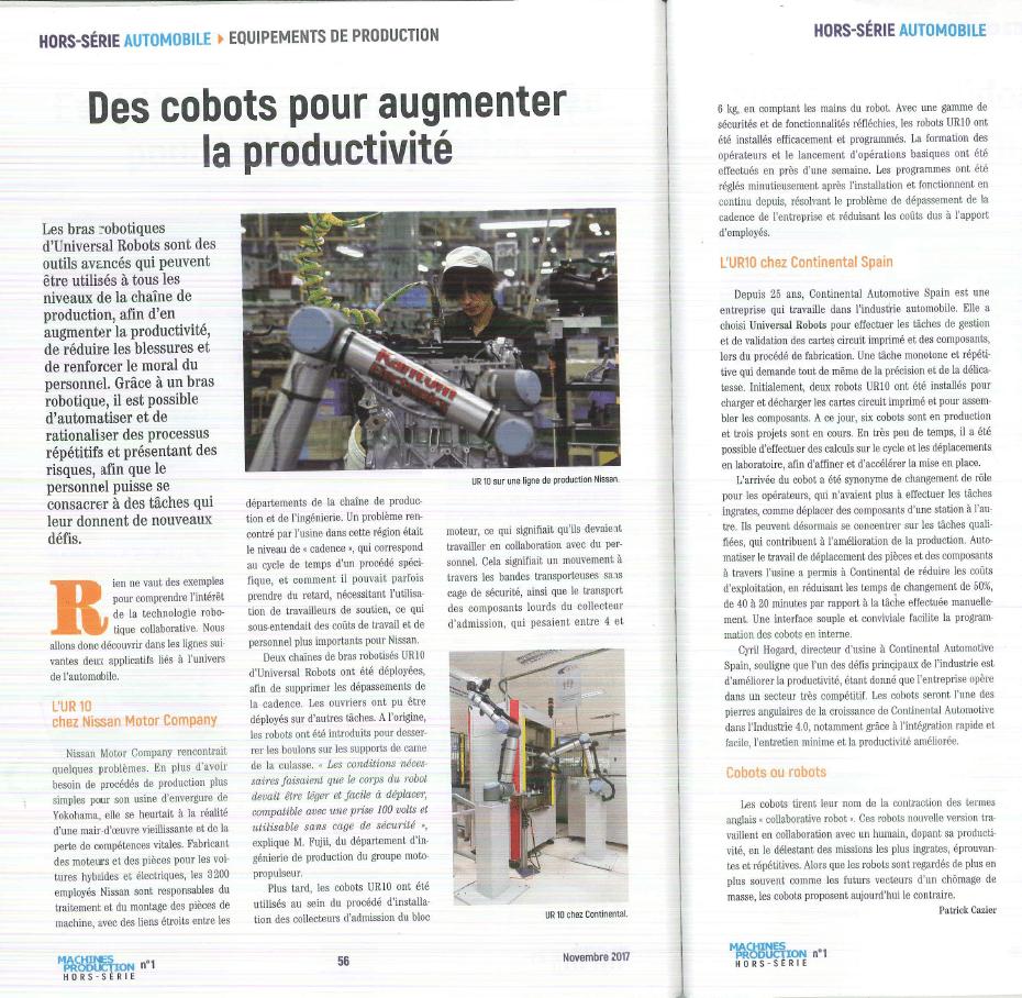 ARTICLE MACHINE PRODUCTION HORS SERIE AUTOMOBILE UNIVERSAL ROBOTS