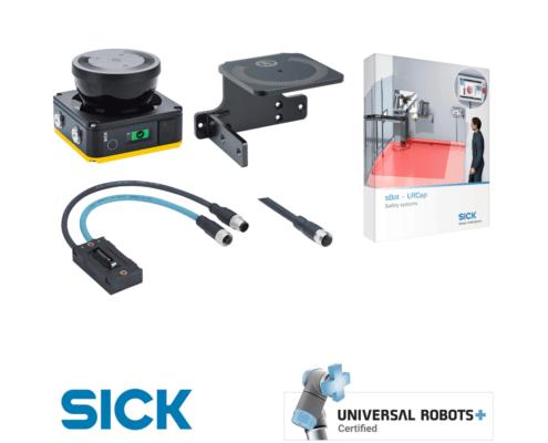 sbot speed urcap sick : contenu du kit de sécurité incluant scrutateur, support, cable et logiciel