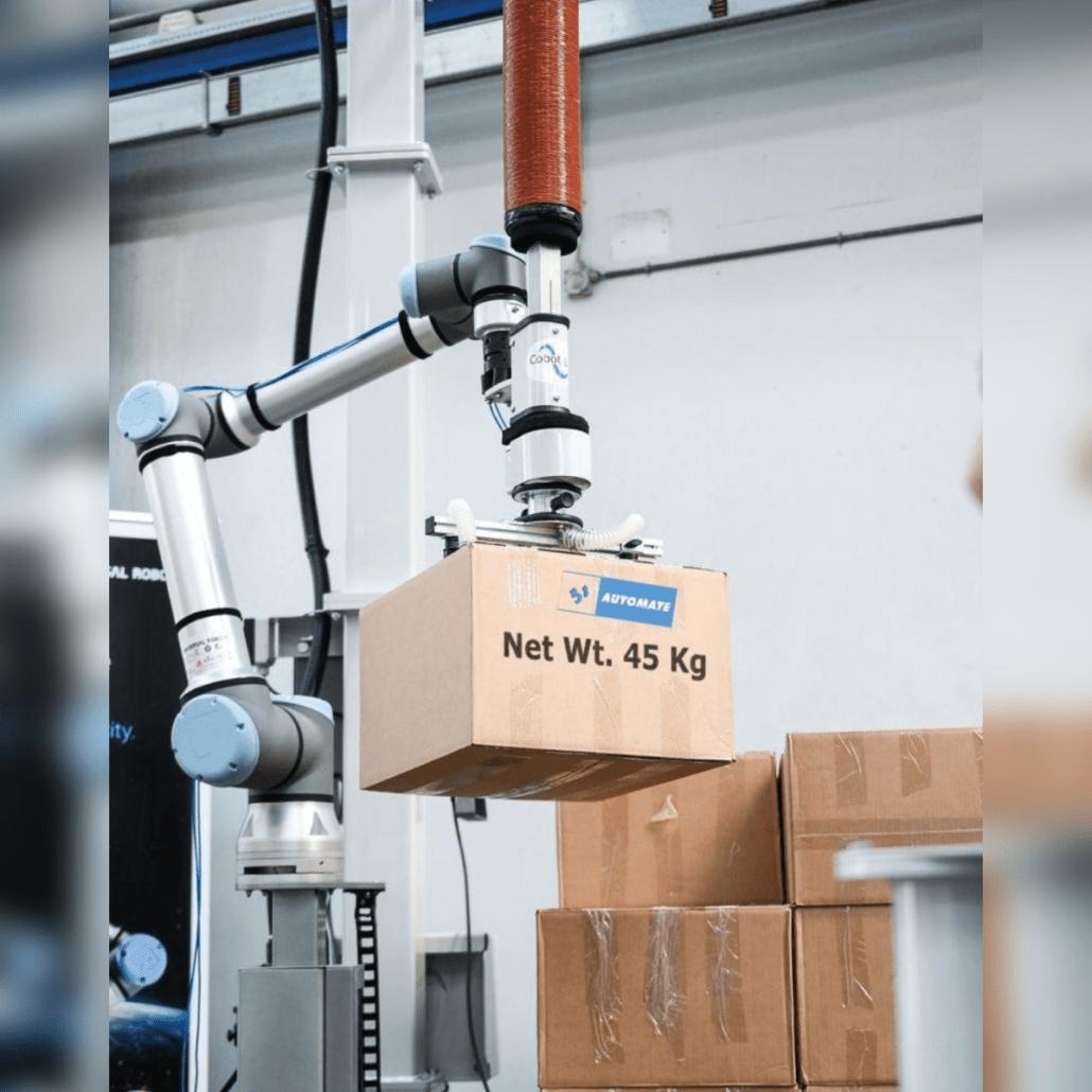 Cobot Lift palettisation industrielle HMI MBS UNIVERSAL ROBOTS